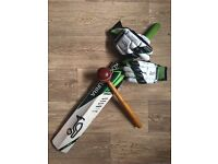 Childrens Cricket bat, bat basher, batting gloves.