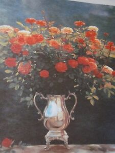 Beautiful Limited Edition Print by Samimi-Roses in a Silver Vase