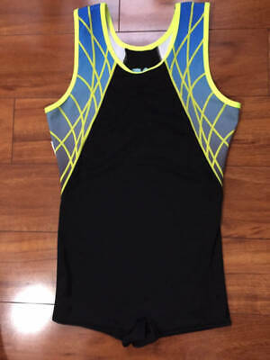 Alpha Factor Men's Guys Neon Black Singlet Gymnastics Adult Medium