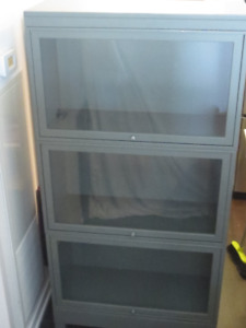 Vintage Metal Barrister Bookcase  - 3 level with glass doors
