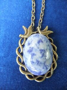 New sodalite gemstone in bronze peace birds necklace