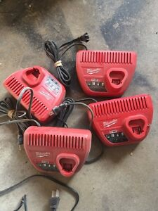 4x Milwaukee 12v chargers