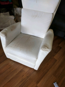 White leather recliner seat, leather is worn off