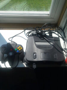 nintendo 64 with six games,two controllers and expansion pack