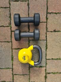 6kg kettlebell and 2 x 4kg dumbells