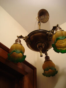 Vintage/antique Brass  Chandelier ceiling Light -vintage shades