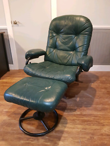 Green leather reclining chair and ottoman