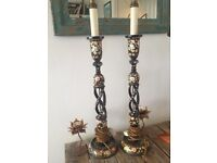 A pair of lovely painted lamps
