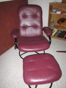Burgundy Leather Reclining Chair and Ottoman