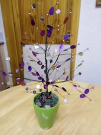 NEXT SMALL SPARKLE TREE, IN GREEN CERAMIC POT