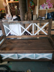 Hand crafted outdoor storage bench