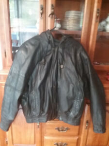 Men's Leather Winter Jacket With Hood