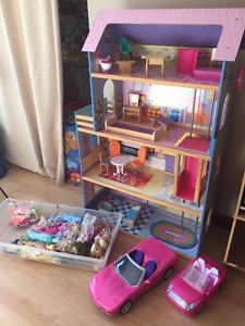 Barbies, house and cars