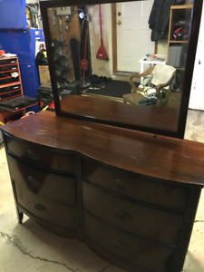 Antique Solid Wood Dresser with Mirror