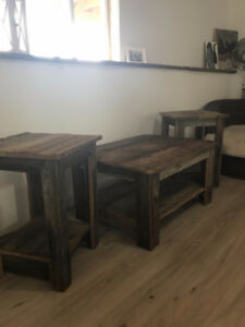 Barn Board coffee Table and 2 End tables