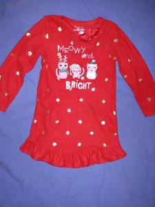 Girls Christmas PJ's Nightie Size 6, EUC