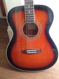 Tanglewood folk style guitar with mother of pearl detail