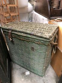 XL Vintage Industrial Mill Wicker Basket With Rope Handles