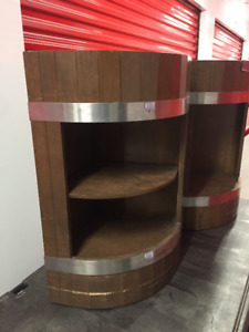 Rustic Barrel Retail Corner Display Stand w/ Shelf - 3 Available