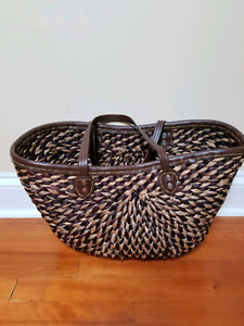 Large Brown Woven Market Basket / Tote / Beach Bag