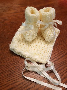 Handmade crochet baby bonnet and booties
