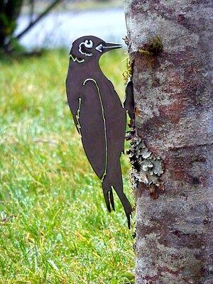 Cut Metal Rusty Woodpecker Bird Garden Home Yard Outdoor Lawn Fence Art Decor