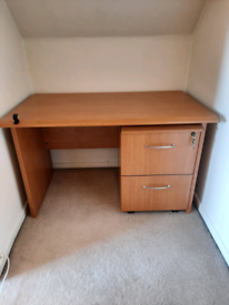 Beech affect office desk with separate two draw filing cabinet.