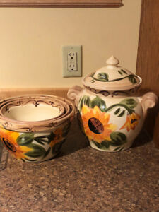 Kitchen items -  Fondue, 2 saki sets, teapot, cups, jar, bowls