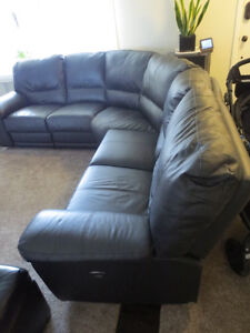 Black Leather Sectional with Power Reciners