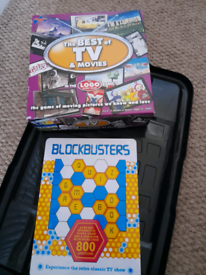 Two board games tv and movie logo and blockbusters