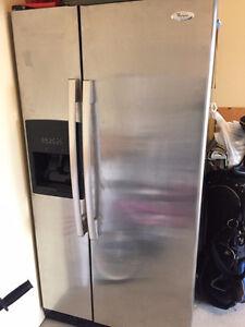 Highend Stainless steel Whirlpool side by side large fridge