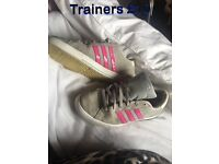 Grey and pink adidas trainers £10