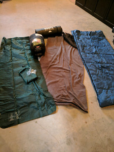 Camping sleeping bags and inflatable mattress