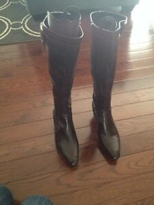 Ladies faux leather brown boots size 9