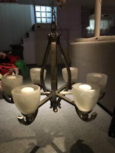 Plafonnier-chandelier à 5 branches en nickel brossé