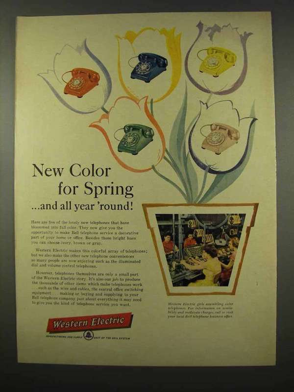 1956 Western Electric Telephone Ad - Color for Spring