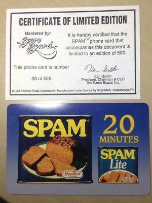 1996 Spam Hormel Foods Phone Card   33 Of 500 Unused W  Certificate Very Scarce