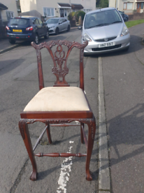 46. Solid wood carved stool
