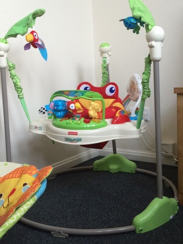 Fisher price rainforest jumperoo in airdrie north for Door jumperoo