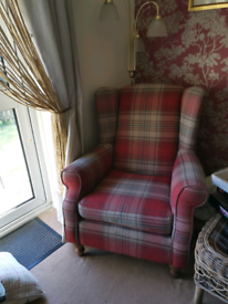 2 x red tartan wing backed chairs