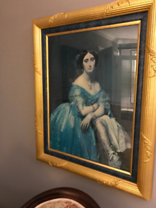 "Antique English aristocratic lady picture $100  33""w x 39""h"