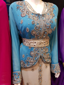 BLUE KAFTAN,WEDDING DRESS,ISLAMIC DRESS,MOROCCAN,PARTY WEAR