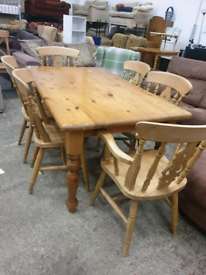 Farmhouse dining table and 6 chairs