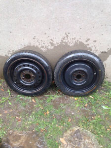 *** 15 inch 5 hole rims and tires T125/70D15 ***