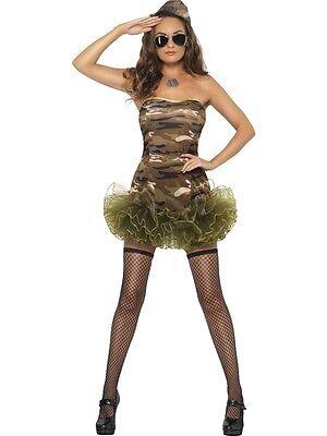 **CLEARANCE** Sexy Army Tutu Girl Women's Fancy Dress Costume (Smiffys)