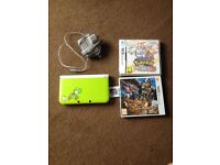 3ds XL yoshi edition + charger + 3 games , Pokemon Y, Pokemon White 2 and monster hunter 4.