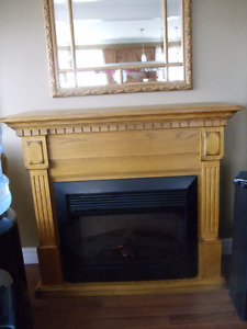 Honey Oak Electric Fireplace with Remote