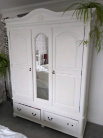 Solid pine wardrobe with mirror