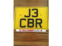 J3 CBR cherished private number plate Honda CBR 600 1000 motorbike