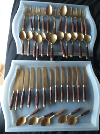 Vintage rose wood and brass 43 piece cutlery set